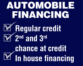 Regular credit, 2nd and 3rd chance at credit, in house financing